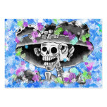 Laughing Skeleton Woman in  Bonnet Business Card Template