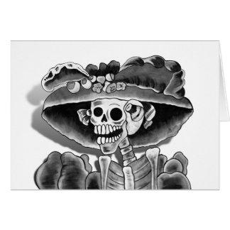 Laughing Skeleton Woman in  Bonnet Card