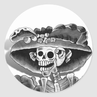 Laughing Skeleton Woman in  Bonnet Classic Round Sticker