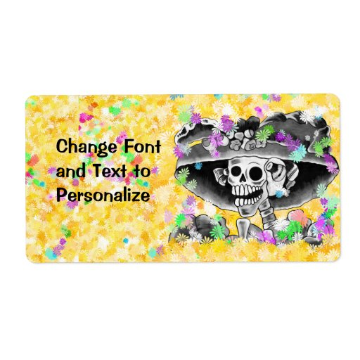 Laughing Skeleton Woman in  Bonnet Personalized Shipping Label