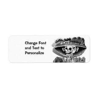 Laughing Skeleton Woman in  Bonnet Label