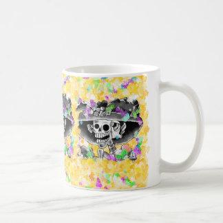 Laughing Skeleton Woman in  Bonnet Classic White Coffee Mug