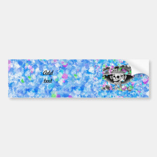 Laughing Skeleton Woman in Bonnet on Blue Bumper Stickers