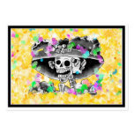 Laughing Skeleton Woman in Bonnet on Yellow Business Card Templates