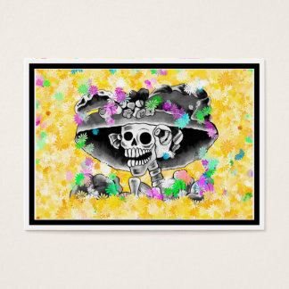 Laughing Skeleton Woman in Bonnet on Yellow Business Card