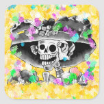 Laughing Skeleton Woman in Bonnet on Yellow Square Sticker