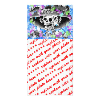 Laughing Skeleton Woman in  Bonnet Customized Photo Card