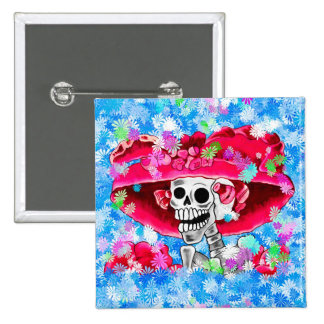 Laughing Skeleton Woman in Red Bonnet 2 Inch Square Button