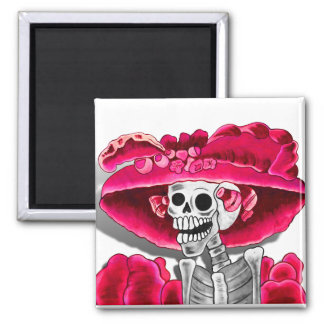 Laughing Skeleton Woman in Red Bonnet 2 Inch Square Magnet