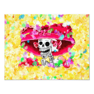 Laughing Skeleton Woman in Red Bonnet 4.25x5.5 Paper Invitation Card