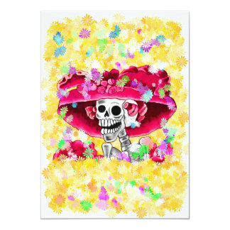 Laughing Skeleton Woman in Red Bonnet 5x7 Paper Invitation Card