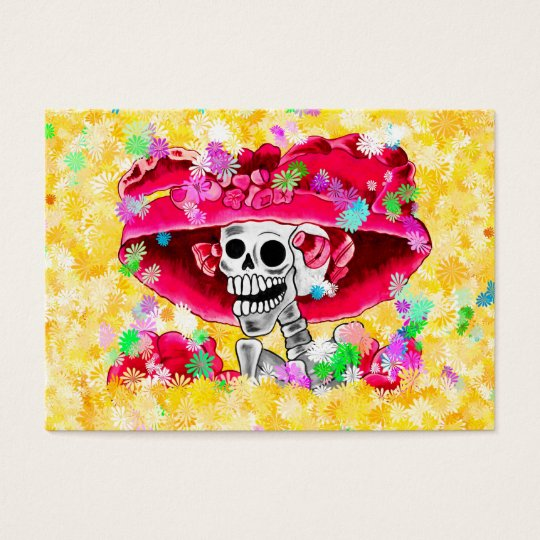 Laughing Skeleton Woman in Red Bonnet Business Card