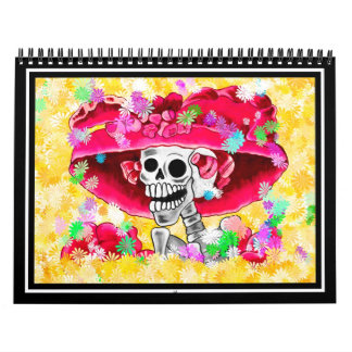 Laughing Skeleton Woman in Red Bonnet Calendar
