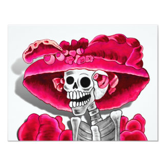 Laughing Skeleton Woman in Red Bonnet Card