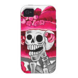 Laughing Skeleton Woman in Red Bonnet iPhone 4 Cases