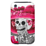 Laughing Skeleton Woman in Red Bonnet iPhone 3 Tough Cases