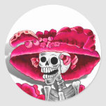 Laughing Skeleton Woman in Red Bonnet Classic Round Sticker