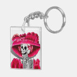 Laughing Skeleton Woman in Red Bonnet Acrylic Key Chains
