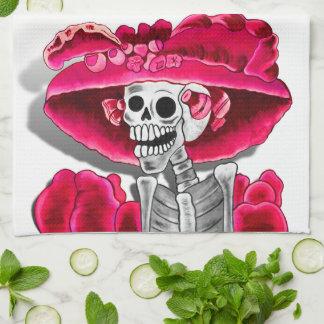 Laughing Skeleton Woman in Red Bonnet Towel