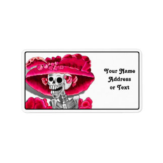 Laughing Skeleton Woman in Red Bonnet Label