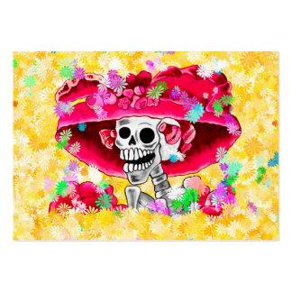 Laughing Skeleton Woman in Red Bonnet Large Business Card