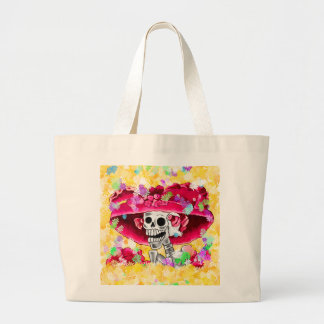 Laughing Skeleton Woman in Red Bonnet Large Tote Bag