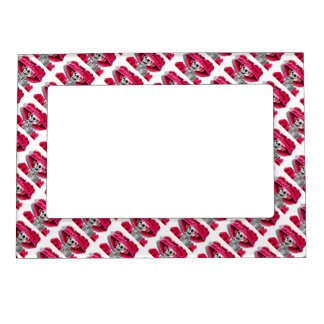 Laughing Skeleton Woman in Red Bonnet Magnetic Frame