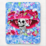 Laughing Skeleton Woman in Red Bonnet Mouse Pad
