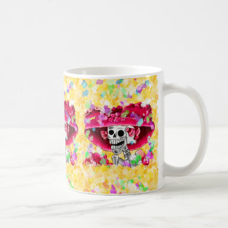 Laughing Skeleton Woman in Red Bonnet Coffee Mugs
