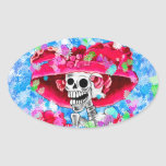 Laughing Skeleton Woman in Red Bonnet on Blue Oval Sticker