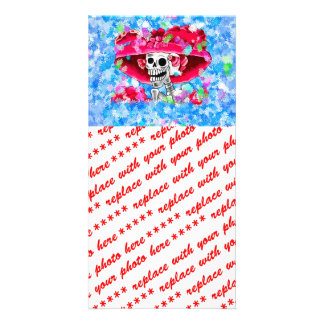 Laughing Skeleton Woman in Red Bonnet on Blue Picture Card