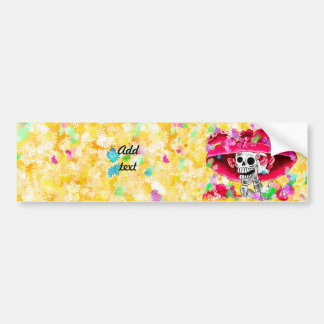 Laughing Skeleton Woman in Red Bonnet on Yellow Bumper Sticker