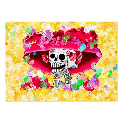 Laughing Skeleton Woman in Red Bonnet on Yellow Business Card Template