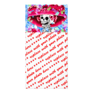 Laughing Skeleton Woman in Red Bonnet Customized Photo Card