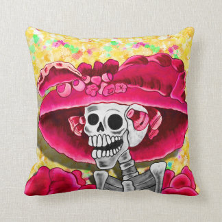 Laughing Skeleton Woman in Red Bonnet Pillows