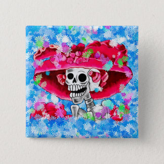 Laughing Skeleton Woman in Red Bonnet Pinback Button