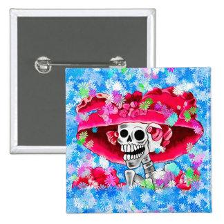 Laughing Skeleton Woman in Red Bonnet Pinback Button