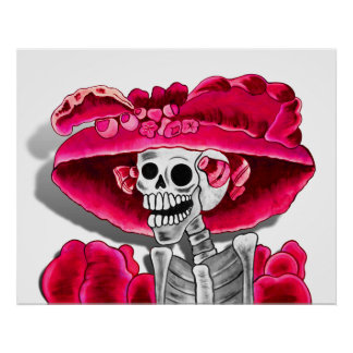 Laughing Skeleton Woman in Red Bonnet Poster