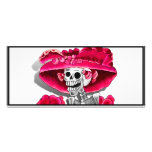 Laughing Skeleton Woman in Red Bonnet Full Color Rack Card