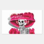 Laughing Skeleton Woman in Red Bonnet Rectangular Sticker