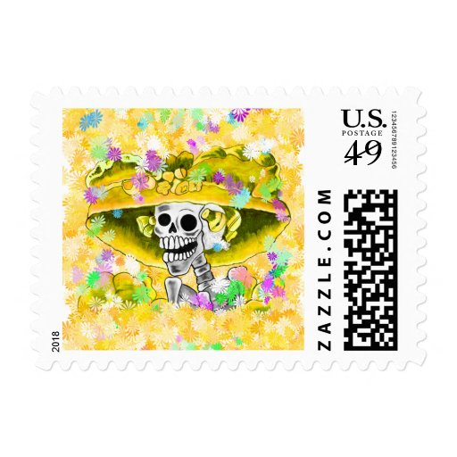 Laughing Skeleton Woman in Red Bonnet Stamp