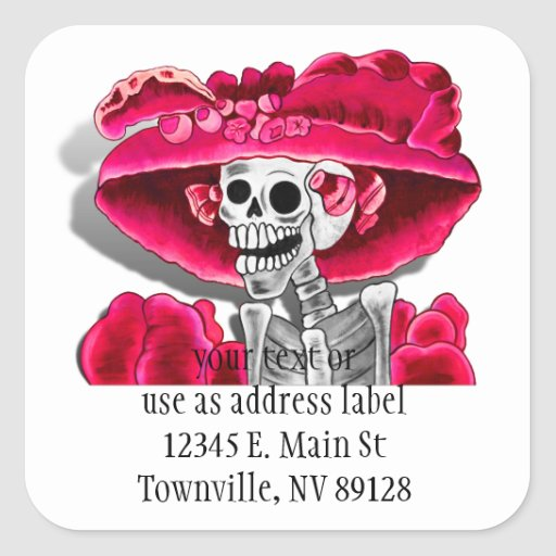Laughing Skeleton Woman in Red Bonnet Square Sticker