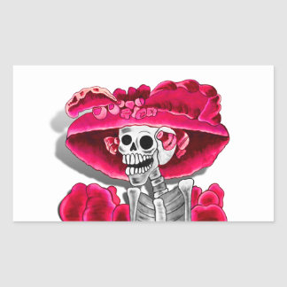 Laughing Skeleton Woman in Red Bonnet Rectangular Stickers
