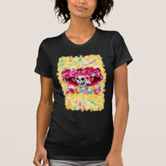 Laughing Skeleton Woman in Red Bonnet T-Shirt