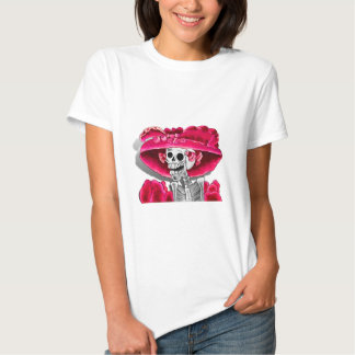 Laughing Skeleton Woman in Red Bonnet T Shirts