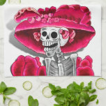 Laughing Skeleton Woman in Red Bonnet Towel