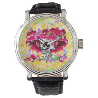 Laughing Skeleton Woman in Red Bonnet Watch