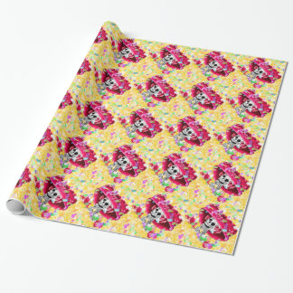 Laughing Skeleton Woman in Red Bonnet Wrapping Paper