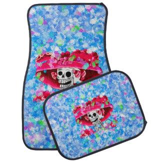 Laughing Skeleton Woman in Red Bonnet Floor Mat