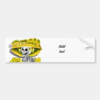 Laughing Skeleton Woman in Yellow Bonnet Car Bumper Sticker